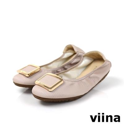 viina 方頭蜥蜴紋金邊方釦摺疊娃娃鞋-粉