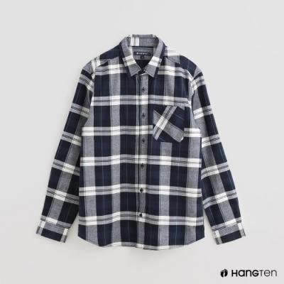 Hang Ten - 男裝 - 經典英倫風配色格紋純棉襯衫 - 藍