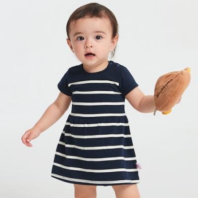 【mamaway 媽媽餵】BABY 色條拼接包屁洋裝(共2色)