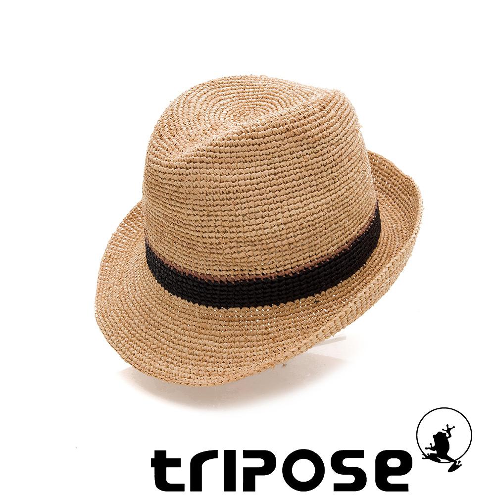tripose 經典微旅-100%手工Raffia紳士遮陽草帽-雙色黑紋理