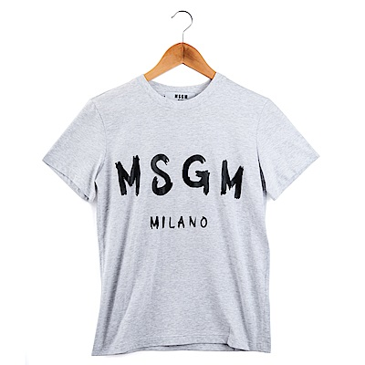 MSGM 經典油漆塗鴉黑色英文字母LOGOT恤 (淺灰)