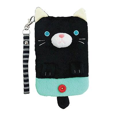 動物樂園毛絨手機提袋 小黑貓 UNIQUE