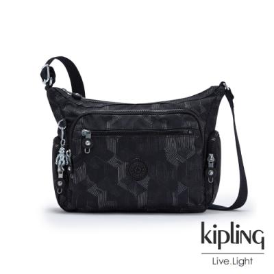 Kipling 幾何圖騰黑多袋實用側背包-GABBIE S