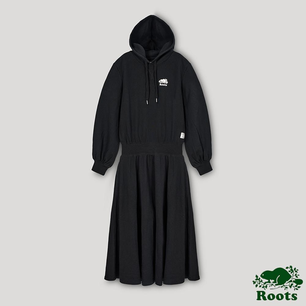 Roots 女裝- 椒鹽灰系列 連帽長洋裝-黑色