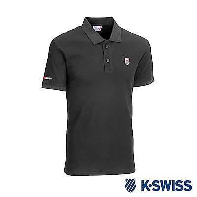 K-SWISS Vintage Logo Polo短袖POLO衫-男-黑