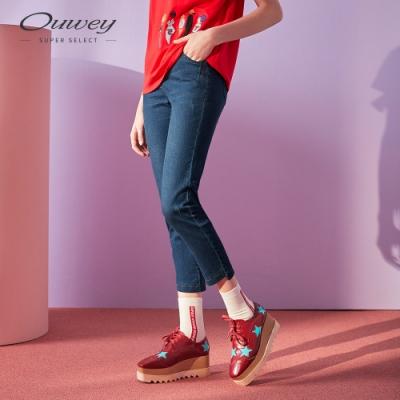 OUWEY歐薇 微刷破彈力牛仔褲(藍)