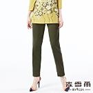 【麥雪爾】口袋剪接織帶裝飾小直筒長褲-橄欖綠