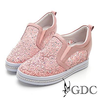 GDC-真皮簍空蕾絲舒適微厚底休閒鞋-粉色