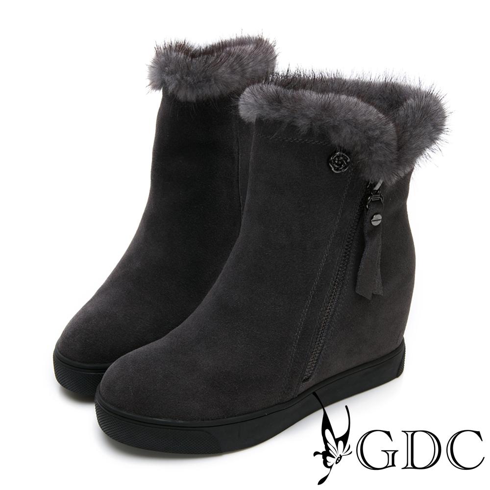 GDC-高貴真皮貂毛精緻楔型短靴-灰色