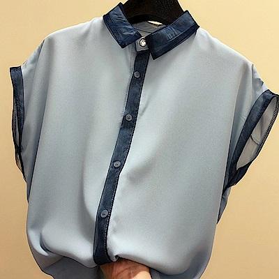 初色  寬鬆顯瘦氣質百搭短袖襯衫-共3色-(M-2XL可選)