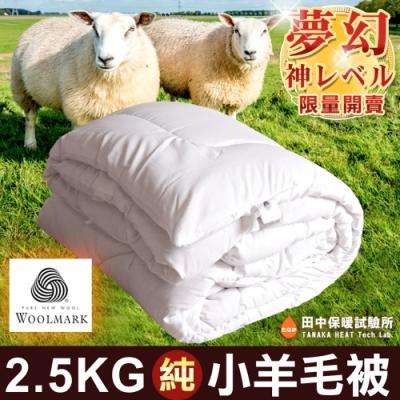 田中保暖試驗所 2.5Kg 澳大利亞100%純羊毛被 6x7尺 附純羊毛聲明卡 國際羊毛