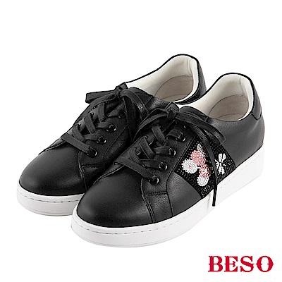 BESO 潮流頑童 不對襯綁帶休閒鞋~黑