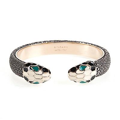 BVLGARI 寶格麗 Serpenti系琺瑯雙蛇頭珍珠魚皮手環(銀色/M)