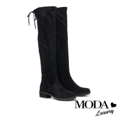 過膝靴 MODA Luxury 都市時尚彈力羊絨麂布燙鑽低跟過膝靴-黑