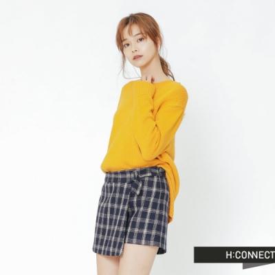 H:CONNECT 韓國品牌 女裝 -側開岔圓領針織上衣-黃(快)