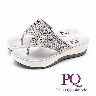 PQ 華麗閃耀 鏤空雕花厚底夾腳拖鞋 女鞋 - 銀(另有藍)