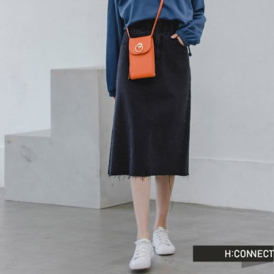 H:CONNECT 韓國品牌 女裝 -花苞造型後開衩牛仔長裙-黑