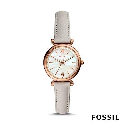 FOSSIL CARLIE MINI 岩石灰迷你皮革女錶