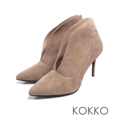 KOKKO - 台灣手工羊麂皮細跟深V長腿踝靴 - 霧灰色