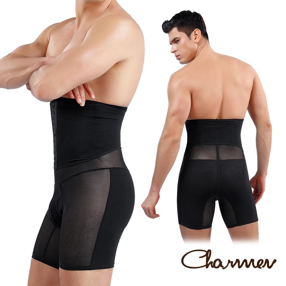 Charmen NY147可調式三段排扣收腹塑腰提臀褲 男性塑身褲 黑色