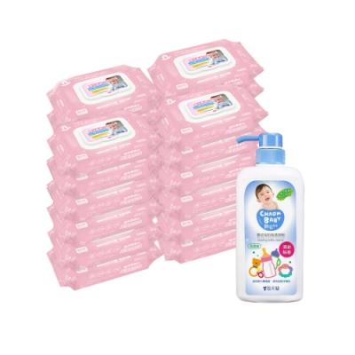貝比Q EDI超厚超純水柔濕巾(80抽)x24包/箱/無香料+雪芙蘭親貝比 嬰幼兒奶瓶清潔劑700ml