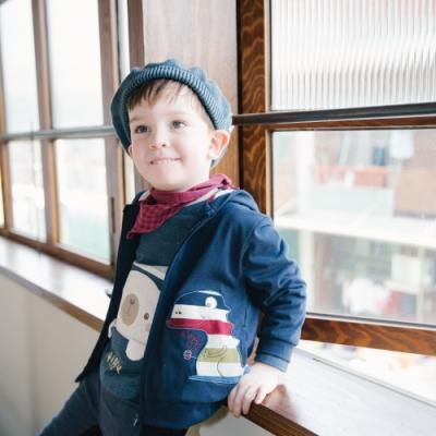 PIPPY 帽內剪接橫條紋針織外套 丈青