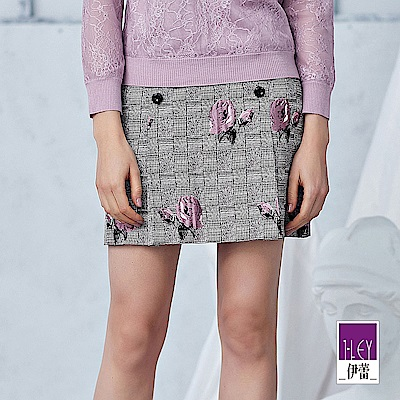 ILEY伊蕾 玫瑰格紋雙排釦造型褶裙(灰)