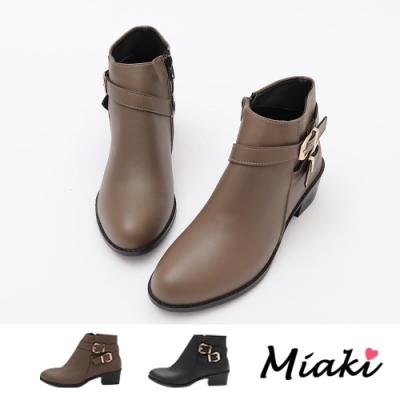 Miaki-短靴-時尚雙扣低跟粗跟踝靴