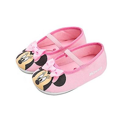 迪士尼童鞋 米妮 蝴蝶結寶寶娃娃鞋-粉