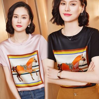 【韓國K.W.】(預購) 時尚超熱銷印花圖騰上衣