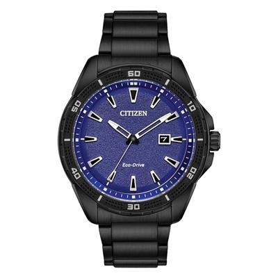 CITIZEN Eco-Drive AR星空閃耀時尚光動能錶-黑X藍/45mm