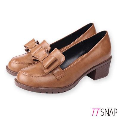 TTSNAP訂製款-可愛雙層蝴蝶結中跟紳士鞋 棕