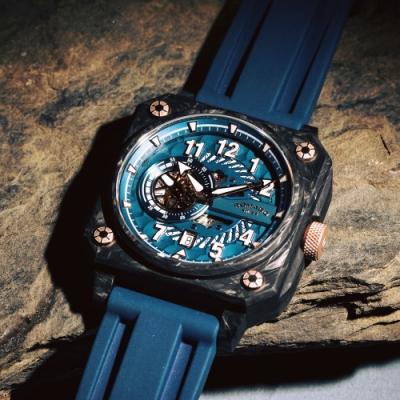 ROMAGO 碳霸系列 超級碳纖自動機械腕錶 - 藍色/46.5mm
