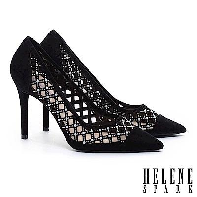 高跟鞋 HELENE SPARK 奢華迷人晶鑽珍珠菱格鏤空全真皮尖頭高跟鞋-黑