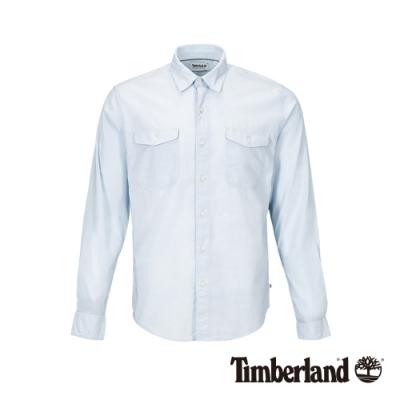 Timberland 男款天際藍純棉修身長袖襯衫|A1VV8