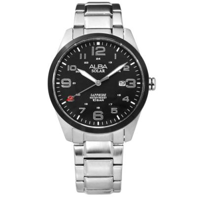 ALBA 台灣限定 環保太陽能 藍寶石水晶玻璃 防水100米 不鏽鋼手錶-黑色/39mm