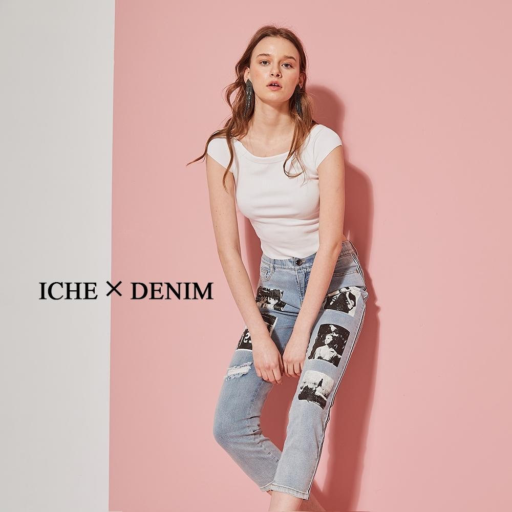 ICHE 衣哲 時尚丹寧黑白膠片印花鉛筆牛仔褲-刷藍