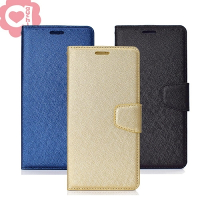 亞古奇 Apple iPhone 7 Plus/ 8 Plus 蠶絲紋月詩時尚皮套-藍金黑