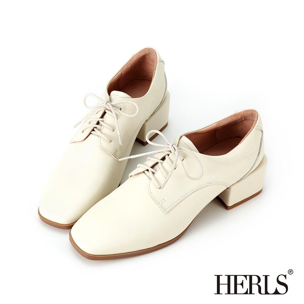 HERLS牛津鞋 全真皮方頭素面粗跟德比鞋牛津鞋 米白色