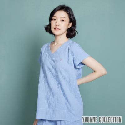 YVONNE 雙層紗口袋V領短袖上衣-灰藍