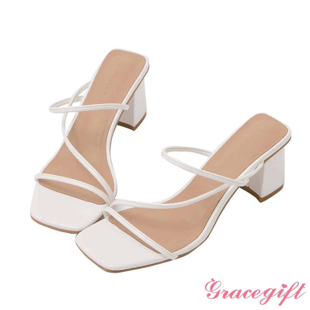 Grace gift-Z字方頭高跟涼拖鞋 白