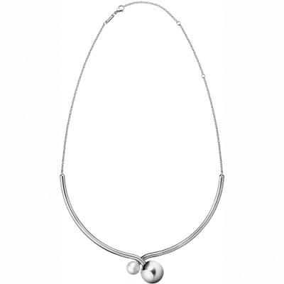 CALVIN KLEIN Bubbly 系列優雅珠飾双繞白鋼項鍊