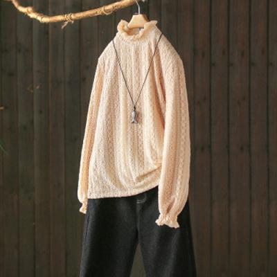 素色蕾絲鬆緊木耳邊半高領加絨內搭衫寬鬆T恤上衣-設計所在