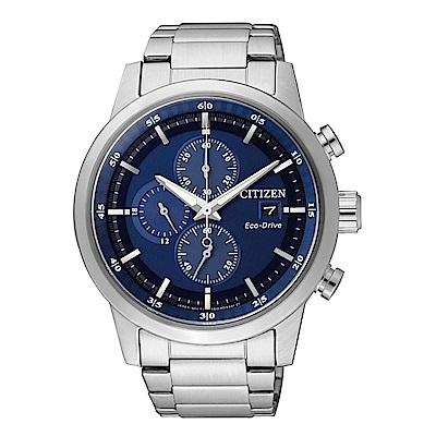 CITIZEN 簡約質感光動能三眼計時錶-藍面/CA0610-52L