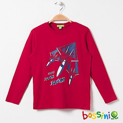 bossini男童-印花長袖T恤03暗紅