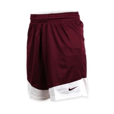 NIKE 男籃球針織短褲-路跑 慢跑 訓練 五分褲 暗紅白