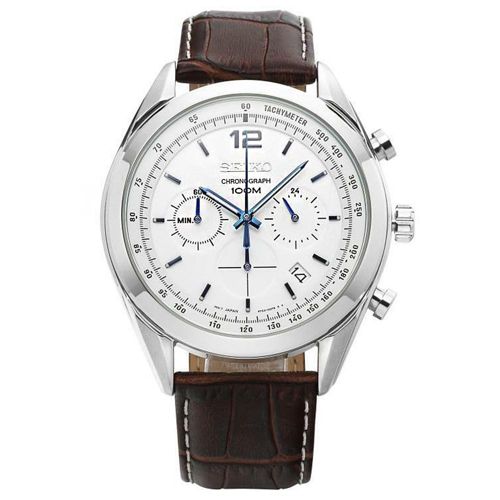 SEIKO精工   逸文富宇三眼計時視距儀石英腕錶(SSB095P1)-白x45mm
