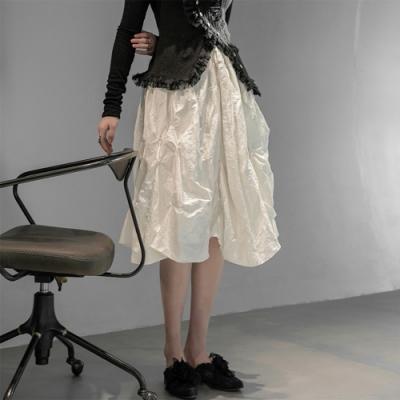 設計所在Style-新韓版手工捏皺不規則百搭仙女中長裙