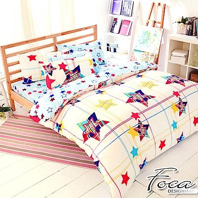 FOCA星星密碼-加大-100%精梳純棉四件式兩用被床包組