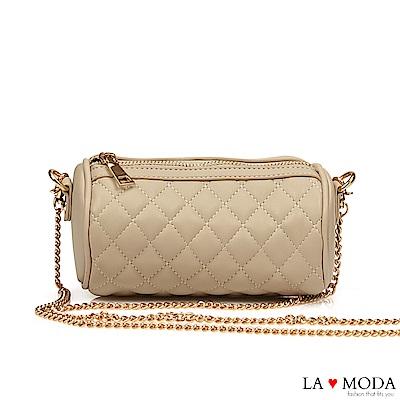 La Moda 輕巧便攜小香風菱格紋鍊條小包(米)